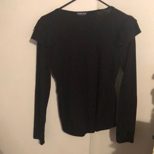 Black shirt with ruffled shoulders